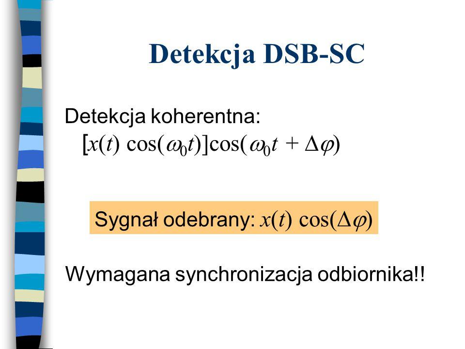 Detekcja DSB-SC Detekcja koherentna: [x(t) cos(w0t)]cos(w0t + Dj)